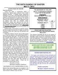 the sixth sunday of easter may 5, 2013 - + Sacred Heart Parish
