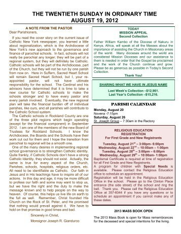 THE TWENTIETH SUNDAY IN ORDINARY TIME AUGUST 19, 2012