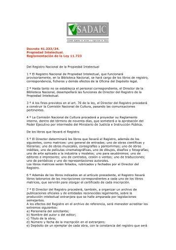 Decreto 41.233/34. Propiedad Intelectual. Reglamentación de la ...