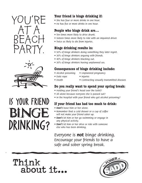 Your friend is binge drinking if - SADD