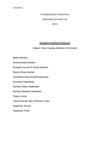 Fundamentals of Nutrition Approved Journals List 2012 Academic ...