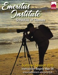 Summer Session 2013 Schedule of Classes - Saddleback College