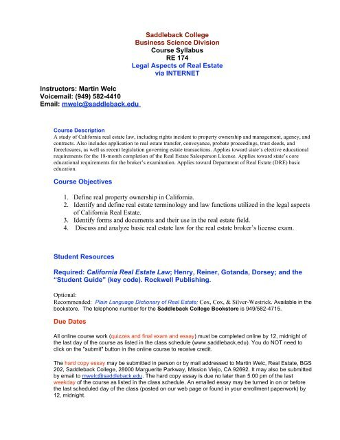 Saddleback College Business Science Division Course Syllabus