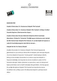 BASIN BÜLTENİ Anadolu Üniversitesi 13. Uluslararası ... - Sadibey
