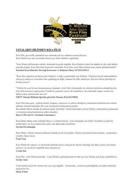 2. Manisa Altın Üzüm Kısa Film Festivali Başvuru Koşulları - Sadibey