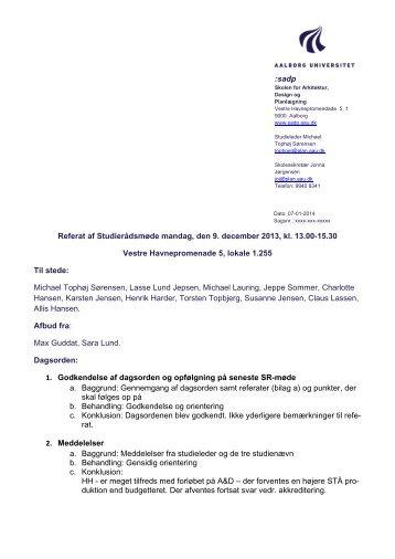sadp Referat af Studierådsmøde mandag, den 9. december 2013, kl ...