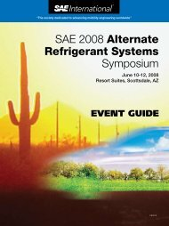 SAE 2008 Alternate Refrigerant Systems ... - SAE International