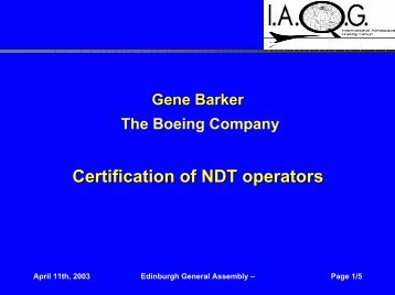 Certification of NDT operators - SAE