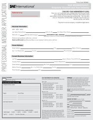 PROFESSIONAL MEMBER APPLICATION - SAE