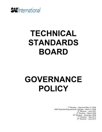 TECHNICAL STANDARDS BOARD GOVERNANCE POLICY - SAE