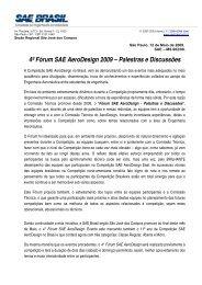 4º Fórum SAE AeroDesign 2009 – Palestras e Discussões - SAE Brasil