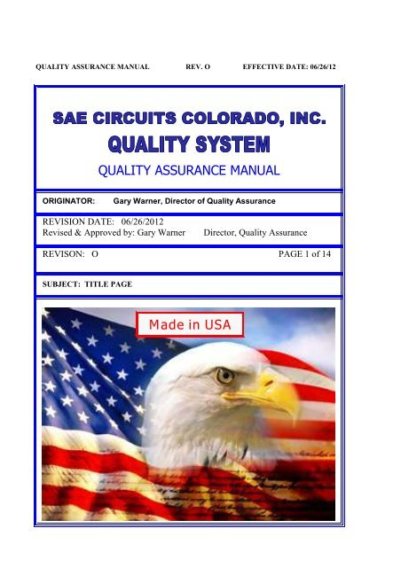 QUALITY ASSURANCE MANUAL Made in USA - SAE Circuits