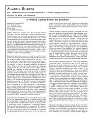 A Medical Liability Primer - The Society for Academic Emergency ...