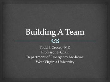 Todd J. Crocco, MD Professor & Chair Department of Emergency ...