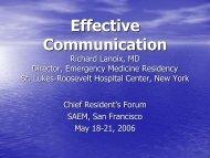 Effective Communication Richard Lanoix, MD Director, Emergency ...