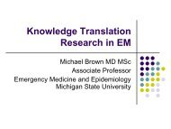 Knowledge Translation Research in EM