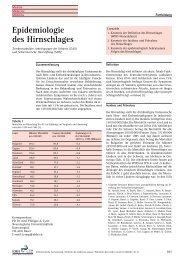 Epidemiologie des Hirnschlages - Schweizerische Ärztezeitung