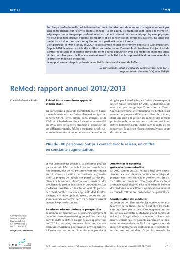 ReMed: rapport annuel 2012/2013 - Schweizerische Ärztezeitung