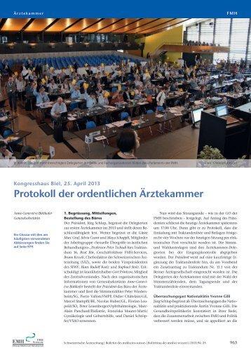 Protokoll der ordentlichen Ärztekammer - Schweizerische Ärztezeitung