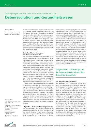 Datenrevolution und Gesundheitswesen - Schweizerische ...