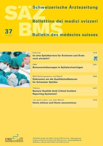 Schweizerische Ärztezeitung Nr. 37/2013