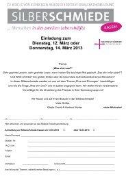 Einladung zum Dienstag, 12. März oder Donnerstag, 14. März 2013