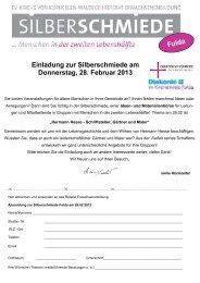 Einladung zur Silberschmiede am Donnerstag, 28. Februar 2013