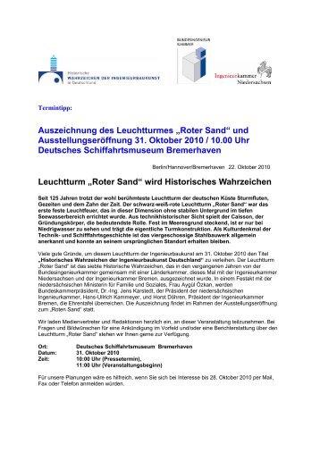 """Auszeichnung des Leuchtturmes """"Roter Sand"""" und ..."""