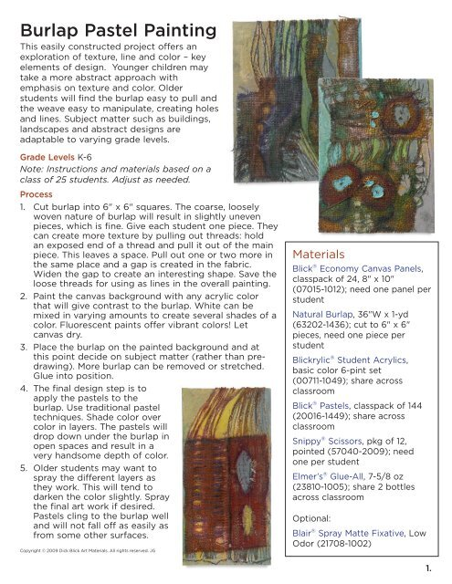Dick Blick Abstract Art Contest