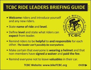 tcbc ride leaders briefing guide • review the following