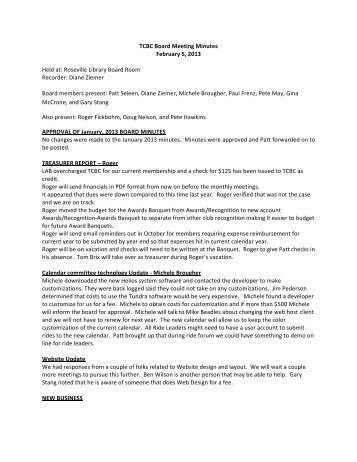 TCBC Board Meeting Minutes February 5, 2013 Held at: Roseville ...