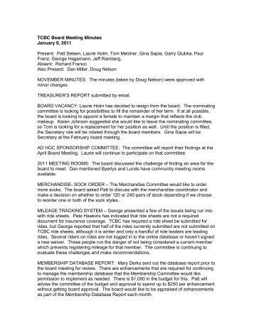 TCBC Board Meeting Minutes January 9, 2011 Present: Patt Seleen ...