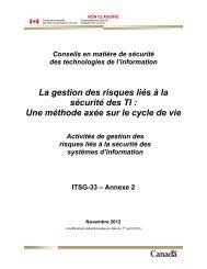 Activités de gestion des risques liés à la sécurité des systèmes d ...