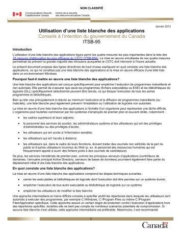 Utilisation d'une liste blanche des applications