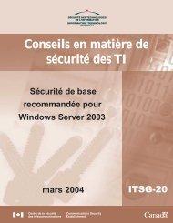 Sécurité de base recommandée pour Windows Server 2003