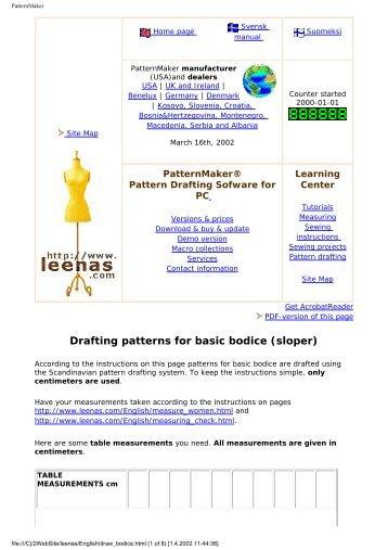 Drafting patterns for basic bodice (sloper) - Leena's.com