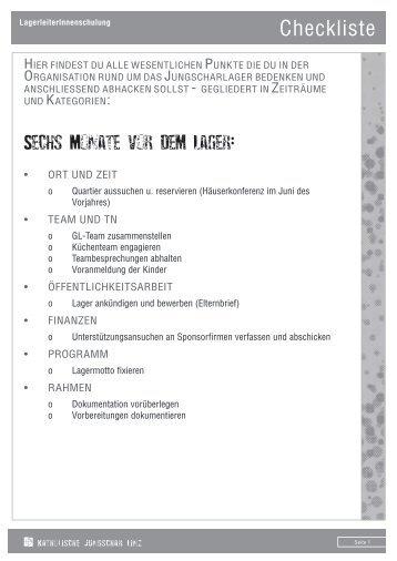 Checkliste für's JS-Lager - Linz - Katholische Jungschar