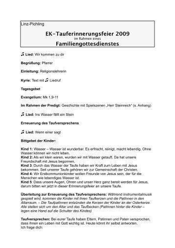 Pfarrgemeinde Linz - Pichling: Erstkommunion-Tauferinnerungsfeier ...