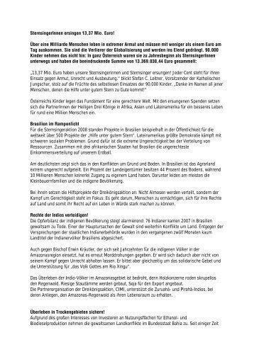 """""""SternsingerInnen ersingen 13,37 Mio. Euro"""" (pdf) - Linz"""