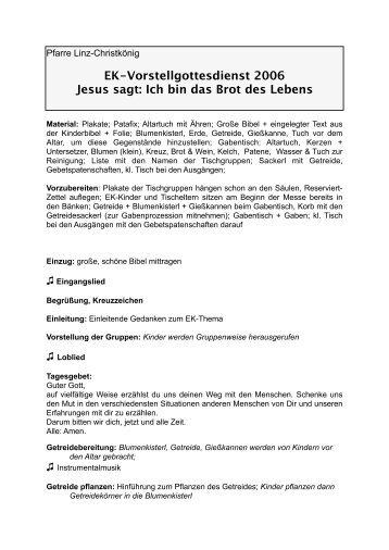 """""""Jesus sagt: Ich bin das Brot des Lebens"""" (EK-Vorstell ... - Linz"""