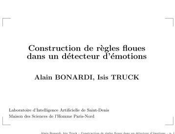 Construction de r`egles floues dans un détecteur d'émotions