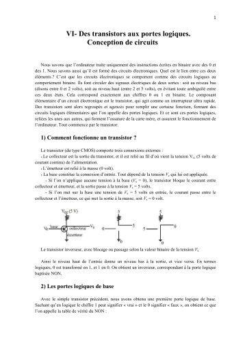 Circuits logiques ele1300 objectifs for Transistor porte logique