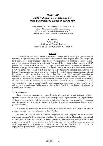 SYNTHUP carte PCI pour la synthèse du son et le traitement de ...