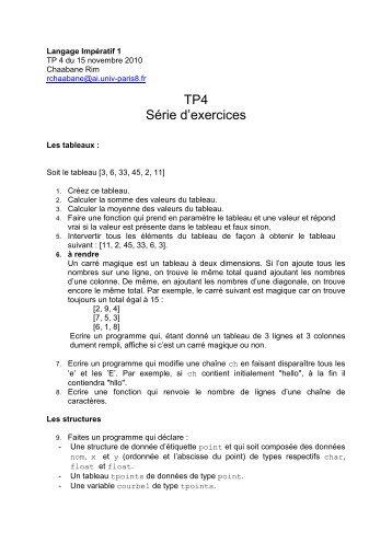TP4 Série d'exercices