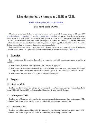 Liste des projets de rattrapage J2ME et XML