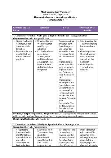 Hauscurriculum Deutsch - Mariengymnasium
