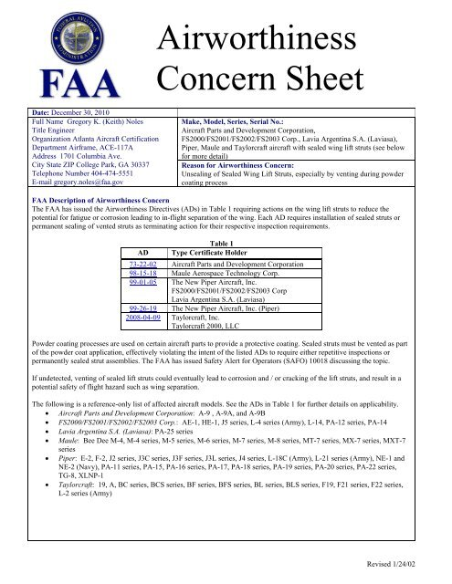 Airworthiness Concern Sheet - Aircraft Owners and Pilots