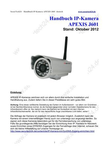 Handbuch IP-Kamera APEXIS J601
