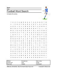 Football Word Search - Homeschooling - About.com