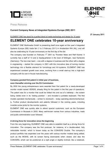 Press Release ELEMENT ONE celebrates 10 year anniversary
